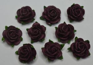 1.5cm TYRIAN PURPLE Mulberry Paper Roses (only flower head)